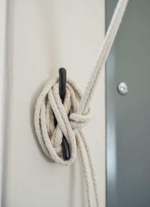 cast iron cleat and cotton rope is part of the Sheila Maid kit