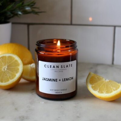 Clean slate jasmine and lemon soy wax candle