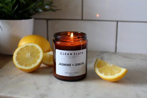 Clean slate jasmine and lemon soy wax candle