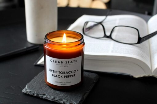 clean slate scented candle sweet tobacco and black pepper