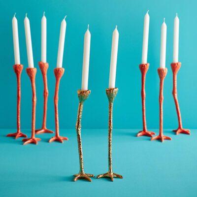 Gold bird long legs candle sticks