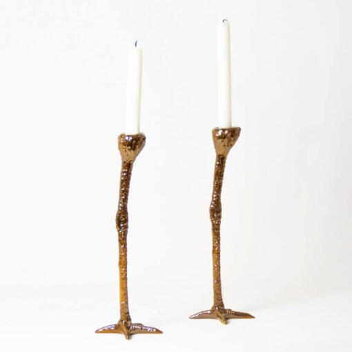 long legs gold painted resin candlesticks in shape of birds legs