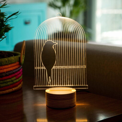 3D Bird cage table lamp optical illusion