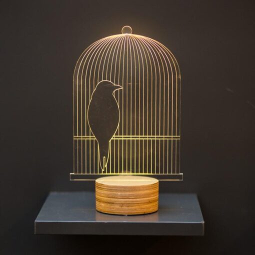 3D Birdcage table lamp, optical illusion