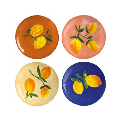 summer lemons ceramic irregular plates set of 4