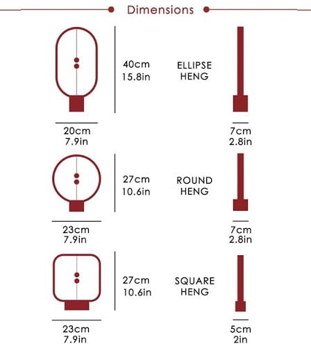 dimensions of balance lamps