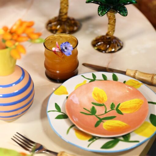 Summer Lemon plate pale coral terracotta stoneware