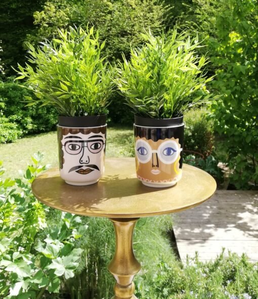 Ceramic face pots gloria and pablo