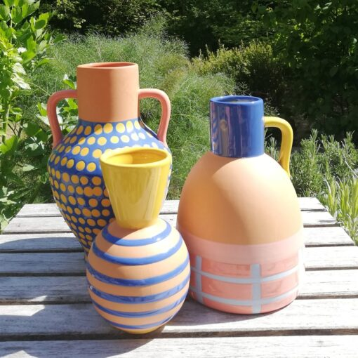 terracotta vase collection by &K Klevering dotty stripey and grid