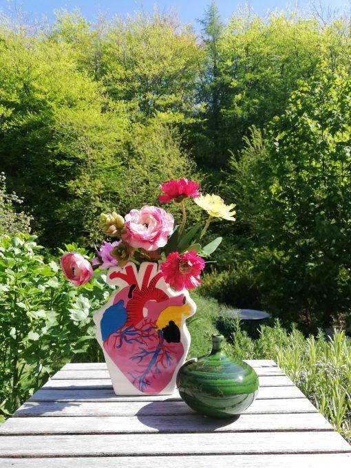 happy heart ceramic vase