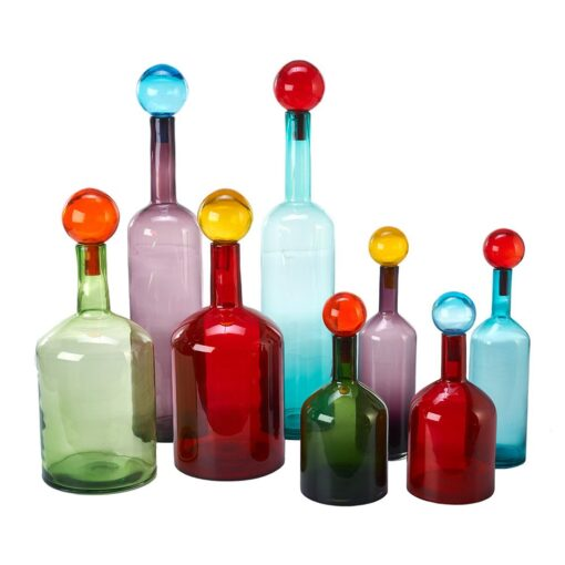 Bubbles and bottles, mouth blow XXL glass bottles with glass stoppers in different colours