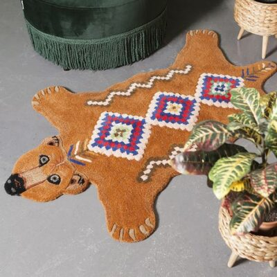 Berber grizzly bear animal friends rug