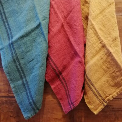 petrol, medoc mustard linen tea towels country linen collection