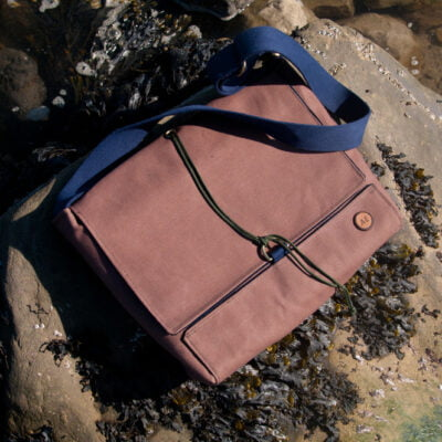 tan duck canvas satchel with navy cord lining